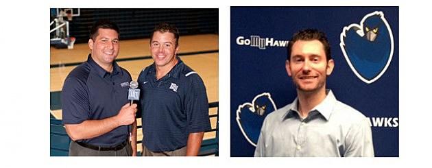 Monmouth University men's basketball team broadcast team (L-R) Eddy Occhipinti, Matt Harmon and Steve Bazaz