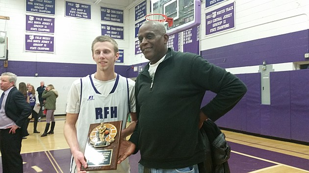 Brendan Barry poses with Palvin Williams after Barry broke the all-time Rumson-Fair Haven scoring mark, previously set by Williams in 1973. (Photo by Matt Manley)
