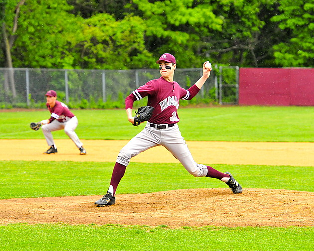 Justin Fall pitches against Brick in SCT action (photo Eric Braun)