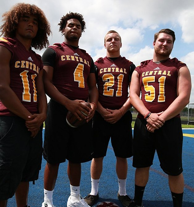 Central senors Anthony Holloway (11), Denis Corbin (4), Mike Bickford (21) and Alex Maj (51). (Photo by Ray Richardson).