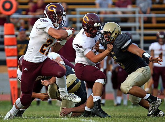 Central senior running back Mike Bickford, the Shore's leading rusher, looks to lead the Golden Eagles past No. 9 Brick in a crucial Class A South game. (Photo by Ray Richardson).