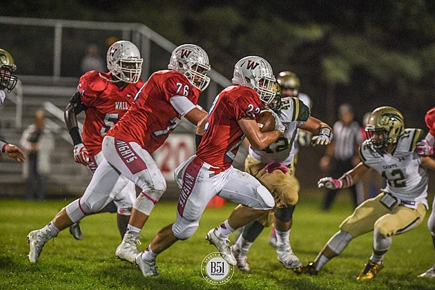 Wall senior running back Sean Larkin (22) had a huge game in the win over RBC with 163 rushing yards and two touchdowns, a 64-yard touchdown pass and a interception on defense. (Photo by Mark Brown/B51 Photography).