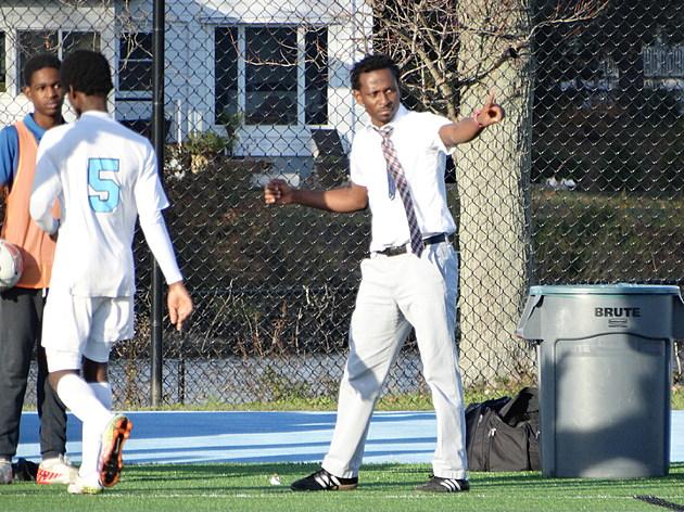 Asbury Park boys soccer coach Jean Dortissant. (Photo by Matt Manley)