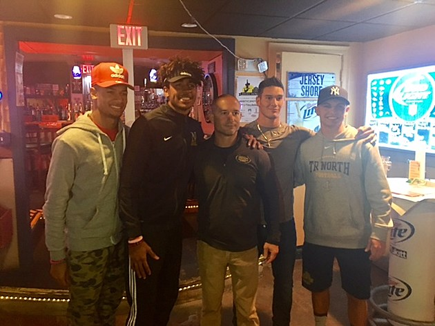 Bryce Watts, Darrion Carrington, Coach Dave Oizerowitz, Pete LaQuaglia and Mike Husni At Bum Rogers for football show