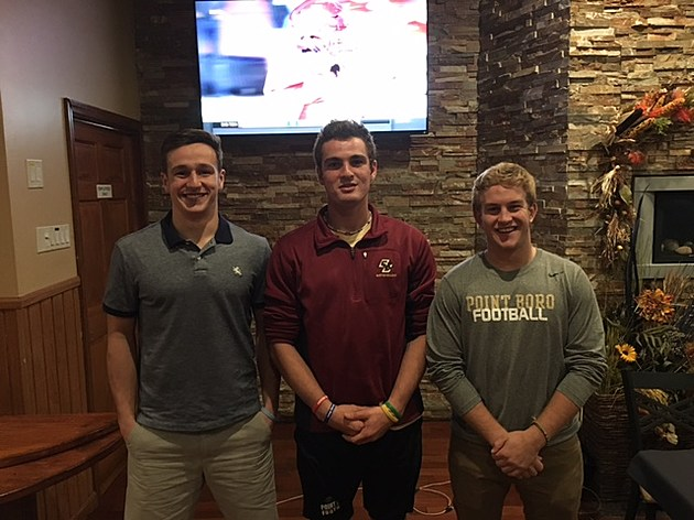 Freehold Township's Anthony Lotti (left) and Point Boro's Hayden Frey and Justin Rafi appeared on last night's Gateway Toyota Coaches Corner at River Rock
