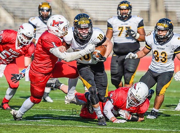 Manalapan had no answer for Piscataway's offense in a 34-13 loss in the Central Jersey Group V final. (Photo by Robert Samuels).