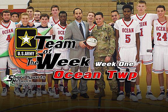 The Ocean boys basketball team with Staff Sgt. Ethan Ewago. (Photo by Steve Meyer)