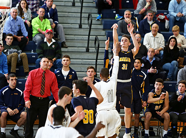 Marlboro senior Dan Weiss fires the three that put Marlboro in the lead. (Photo by Ray Richardson)