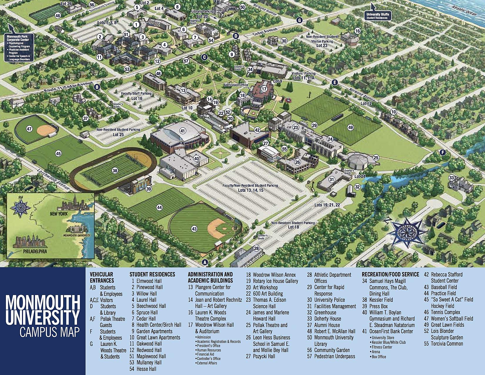 Monmouth University Map Monmouth University Map | Color 2018