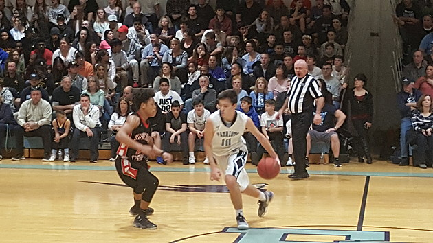 Senior guard Bobby Weise hit free throws to put Freehold Township up late in the game, but the Patriots could not hold on in falling to Hunterdon Central. (Photo by Scott Stump)