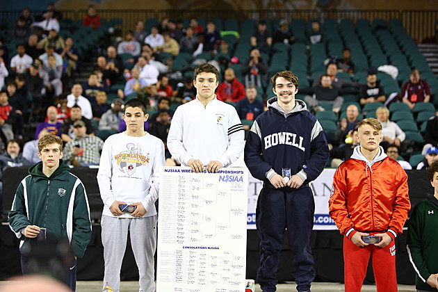 Howell's Kyle Slendorn was still smiling on the medal stand after finishing second in the state tournament at 126 pounds. (Photo by Ray Richardson).