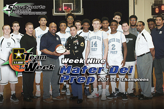 Coach Ben Gamble and the Mater Dei Prep boys basketball team accept the Team of the Week award from U.S. Army Sgt. First Class Josh Simpson. (Photo by Steve Meyer)