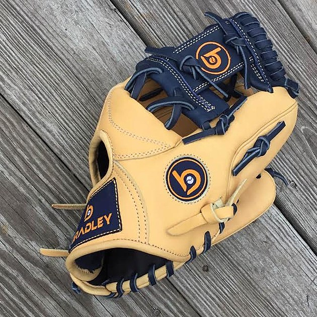 A sample of the gloves being offered by Manasquan resident Jeff Bradley through his new company, Bradley Baseball Gloves. (Photo courtesy of Jeff Bradley)