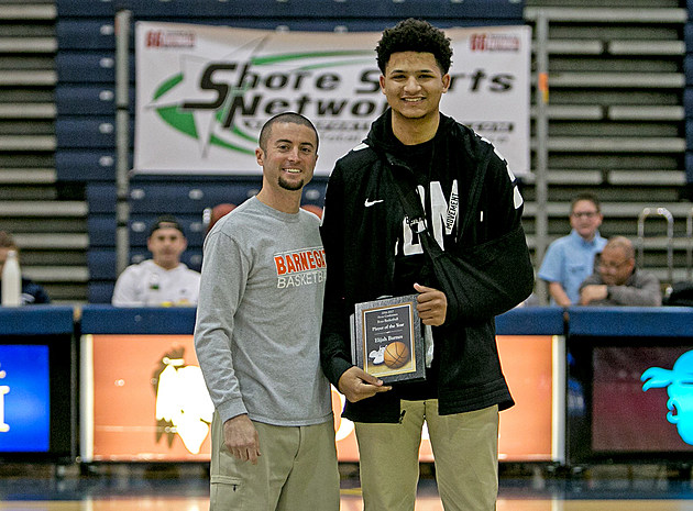 Mater Dei Prep's Elijah Barnes was honored by SBCA president Mike Puorro of Barnegat as the Shore Conference Player of the Year. (Photo by Ray Richardson)